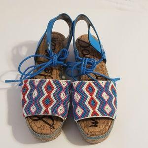 Sam Edelman red, white & blue beaded sandals
